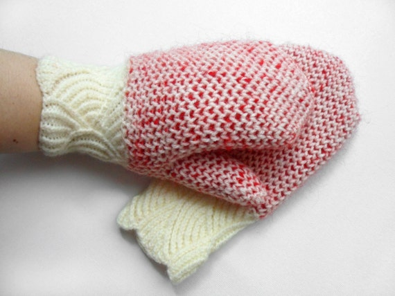 Hand Knitted Mittens - White and Red, Size Small