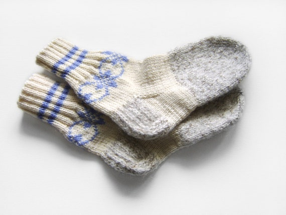 Hand Knitted Wool Socks - Grey, Medium