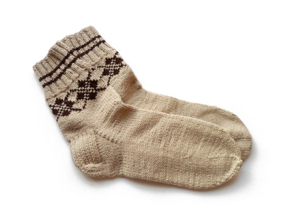 Hand Knitted Socks - Beige, Size Large