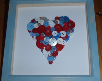 Red, White and Blue / Union Jack / Jubilee 3D Button Heart Art - Large