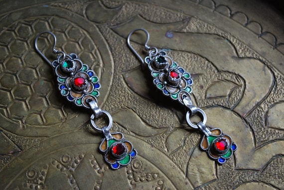Antique SILVER MOROCCAN EARRINGS - Long Dangle Earrings