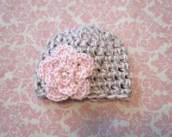 Toddler Girl hat Pink and Grey with flower/ Girls hat/ Baby girl hat