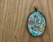 floral 'hi fuck you' pendant - size medium