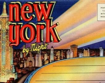 New York by Night Vintage Linen Postcard Book
