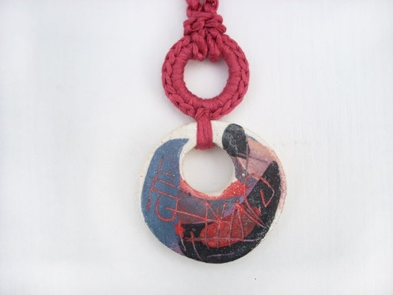 Ceramic Colorful Necklace Pendant Circle Coral Red