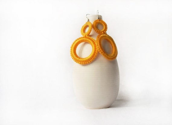 Mustard crochet earrings  fashion jewelry Handmade by Aliquid