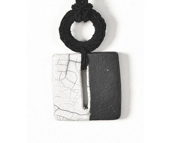 Pendant Necklace Black and White ceramic raku square.Handmade textile jewelry by Aliquid