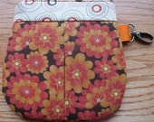 Coin Purse, Card Holder, Zipper Pouch and Key Ring / Fall flowers