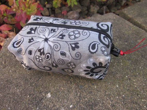 Black and Silver Zipper Mini Duffle / Featured in an Etsy Treasury  Coupon code PCFTEAMSALE for FREE shipping