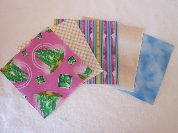 Set of 5 five inch Pre cut Wizard of OZ Charm Squares / Quilt Charm Squares