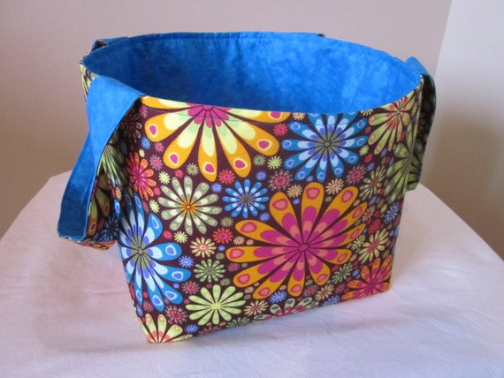 Fabric Storage Bin, Large Fabric Organizer, Diaper Caddy, Fabric Basket, Teal and flowers / May Basket