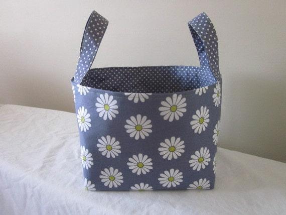 Extra Large Fabric Storage Bin,  Fabric Organizer, Diaper Caddy, Fabric Basket, Flowers, Gray dots, Ready to Ship