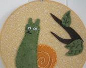 Garden Snail Handmade Embroidered hoop art/wall hanging