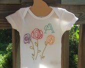 Roses Away Hand-Embroidered Onesie w/ Intials