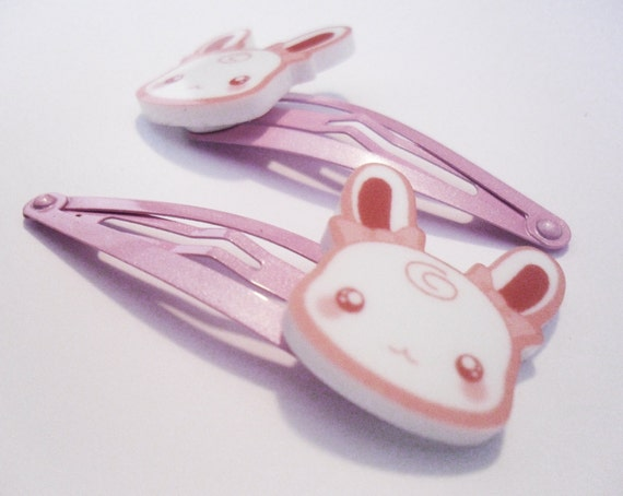 SALE - KAWAII Bunny Rabbit - Pink Hair Clip Snap