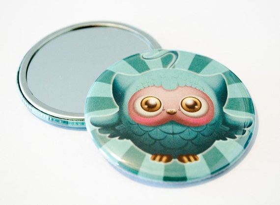 The Forest Dwellers - The little Owl - Art Pocket Mirror