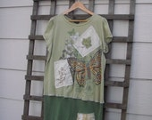 Funky Upcycled Butterfly T Shirt Dress/ Woodsy Green Eco Stretch Knit Dress