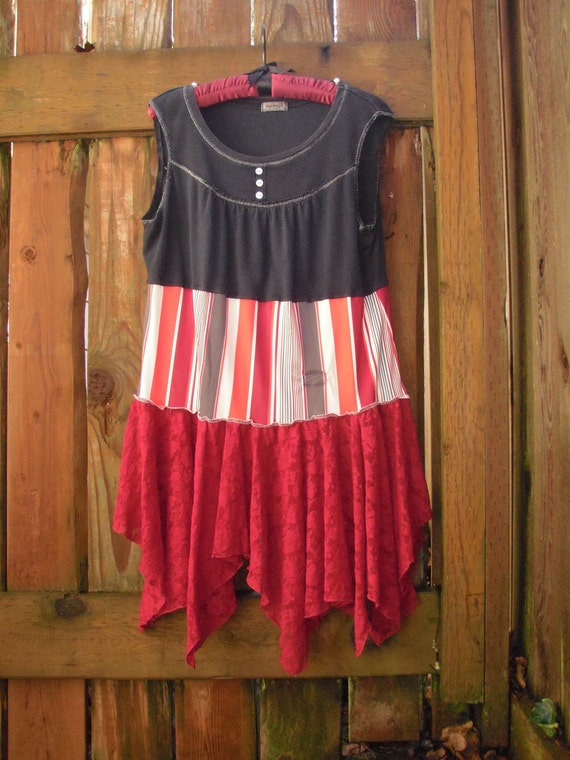 Upcycled Eco Baby Doll Dress/ Funky Circus Stripes Dress/  Vaudeville Style Dress Frock L XL