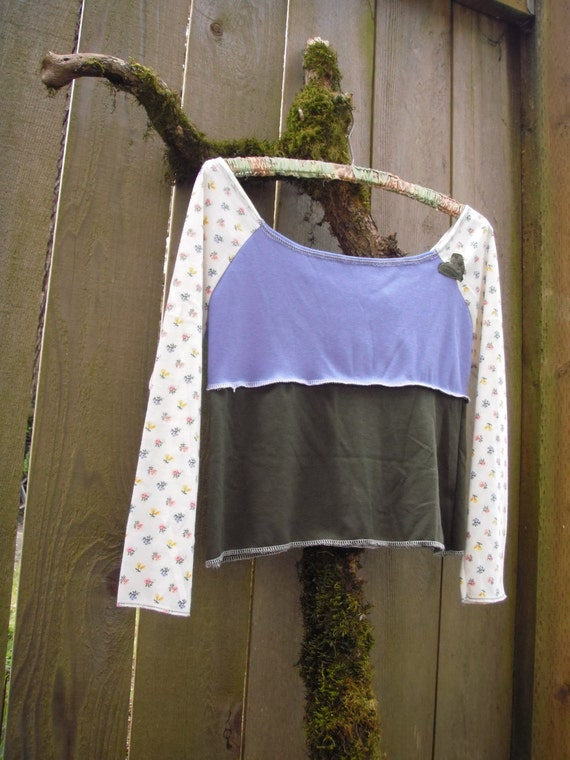 Eco Off the Shoulder Jersey Crop Top/ Color Block Half Shirt/ Vintage Cotton Stretch Knit Blue Green