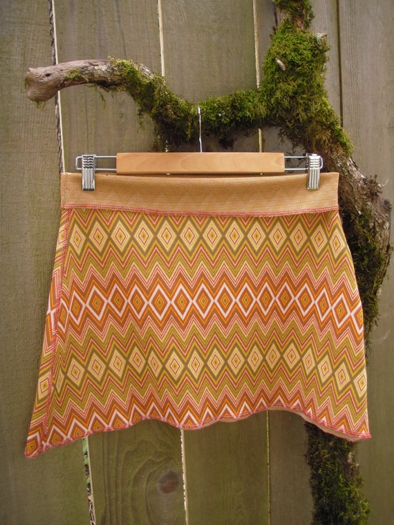 Tribal Chevron Mini/ Eco Poly Stretch Knit Mini Skirt Mustard Orange Brown White Small