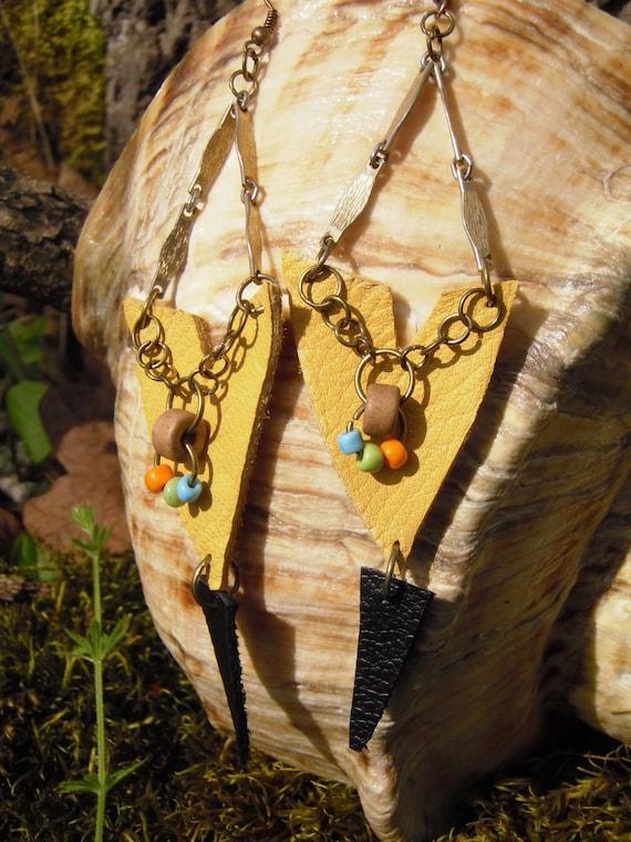 Tribal Earrings/ Chevron Leather Dangle Earrings/ Upcycled Leather Earrings Yellow Black