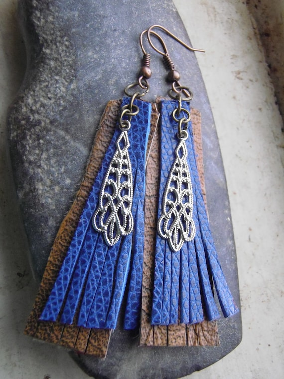 Leather Fringe Dangle Earrings/ Upcycled Leather Earrings Blue Mocha