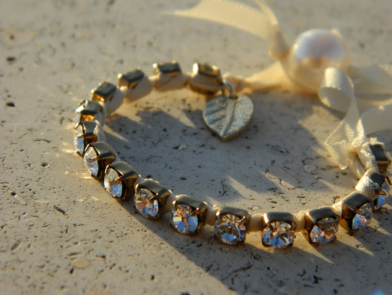 Swarovski Crystal Wrapped Bronze Metal Chain Bracelet with Gold Leaf Charm and Pearl Closure