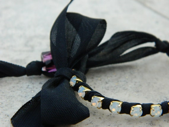 Black Ribbon Wrapped Opal Crystal Friendship Bracelet with Italian Glass Bead Closure and Bow