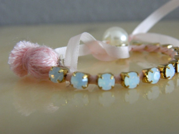 Pink Ribbon Wrapped Opal Crystal Antique Gold Chain Bracelet with Pearl Closure and Tassel