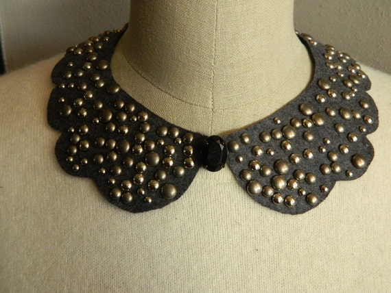 LAST ONE in STOCK - this color/studs - 2 Sided, Studded Scallop Peter Pan Collar Necklace with Satin Bow or Rhinestone Front Embelishment