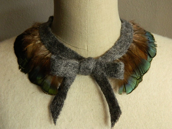 LAST 2 IN STOCK with grey ribbon - Muliticolor Feather Collar Necklace with Adjustable Mohair Ribbon Front Tie Bow