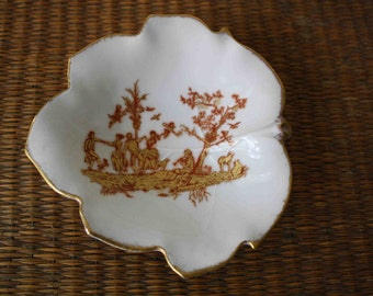Vintage Limoges dish, French decor, toile, fall decor