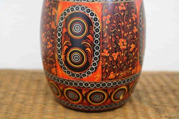 Vintage carved wood vase