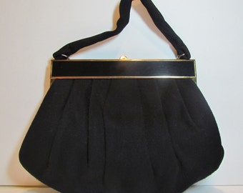 Vintage black wool purse, classic style winter handbag, metal and lucite frame