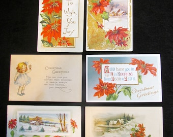 Antique Christmas postcards, lot of 6 Christmas postcards, embossed postcards