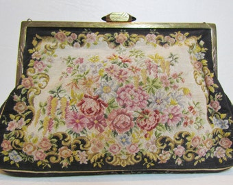 1930's petit point purse with brass Art Deco frame and jeweled clasp, floral pattern evening bag