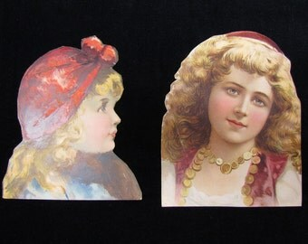 Antique paper ephemera, 2 Victorian girls, large size frameable cut outs of pretty girls