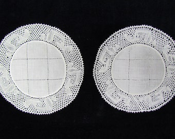 Set of 6 antique doilies, c.1910 lawn doilies with Flanders bobbin lace and drawnwork