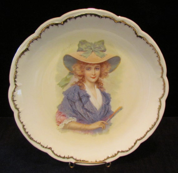 Vintage porcelain plate with 18th century lady's portrait - early 1900's Bavarian china plate