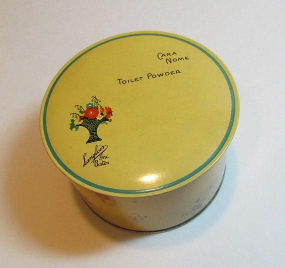 Vintage tin, 1930's Art Deco Cara Nome talcum powder tin