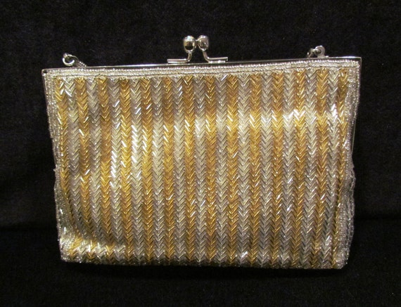 Vintage 1950's gold and silver beaded evening bag, purse, clutch, formal