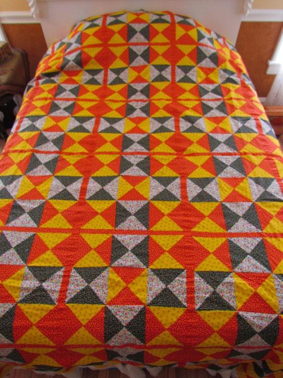 Vintage quilt top - geometric patchwork, bright colors, 1970's