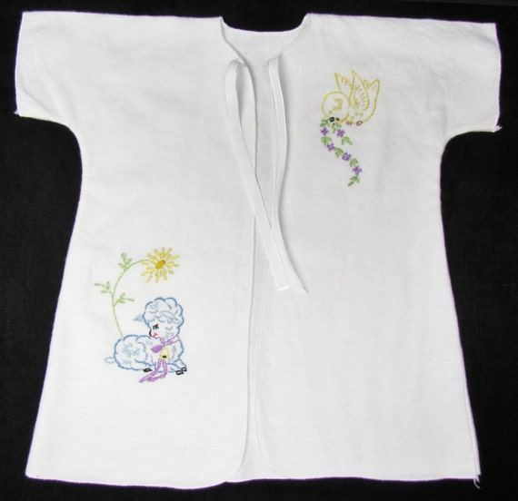 Embroidered long infant gown, baby boy's, blue lamb