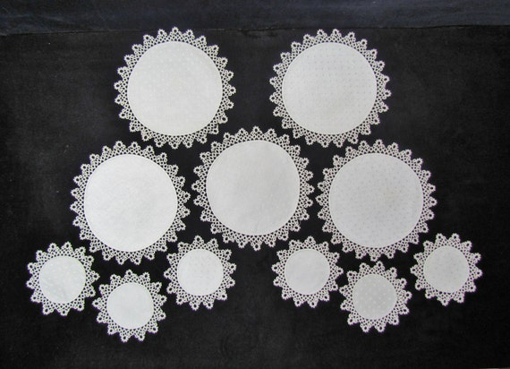 Vintage doily and coaster set, 5 cream colored linen doilies and 6 coasters with tatted lace trim