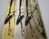 Canoe silkscreen neckties with black ink. Microfiber screen printed outdoor camping tie.