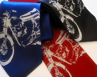 Vintage Motorcycle silkscreen neckties. Microfiber screen printed motorbike tie.