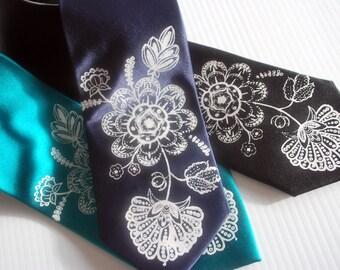 Antique flower silkscreen neckties. Microfiber screen printed flower tie.