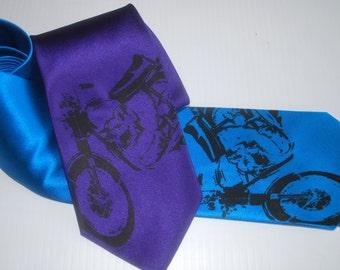 Vintage Motorcycle silkscreen neckties with black ink. Microfiber screen printed motorbike tie.