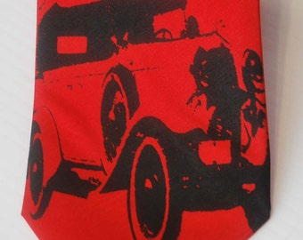 Classic Car silkscreen neckties with black ink. Microfiber screen printed Vintage Automobile tie.
