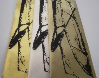 Canoe silkscreen neckties with black ink. Microfiber screen printed outdoor camping tie.